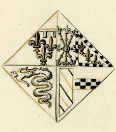 RIENS NE M'EST PLUS -- Dessin des armes de Marie de Clèves, duchesse d'Orléans. -- Paris, BNF, fr. 25528, 1401-1500, f°1.