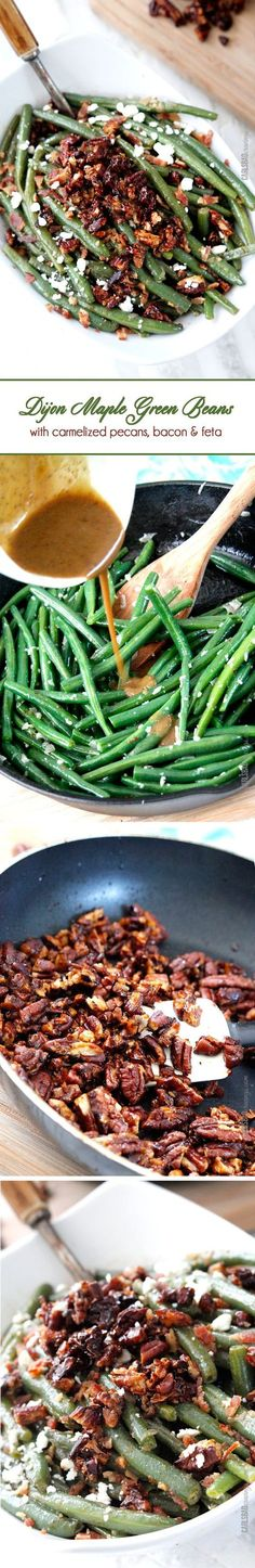 "Dijon Maple Green Beans with Caramelized Pecans, Bacon and Feta | these aren't your grandmother's green beans! Tangy, salty, sweet, crunchy, crispy, creamy AKA, ""the best green beans ever."" Not just for Thanksgiving but a year round company pleasing, delicious side.:"