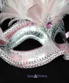 Image Detail for - Pink & Silver VENETIAN Masquerade Mask with Feathers | eBay
