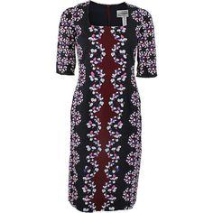 ERDEM Quarter Sleeve Sophia Dress ($1,880) ❤ liked on Polyvore featuring dresses, mat, maternity, print dresses, erdem, navy dress, pattern dress and navy blue dress