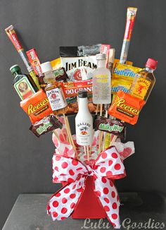 #Candy / #Liquor #Bouquet. perfect #gift for hard-to-buy-for men, 21st birthdays or Valentines.