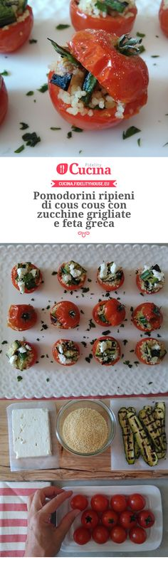 Pomodorini ripieni di cous cous con zucchine grigliate e feta greca