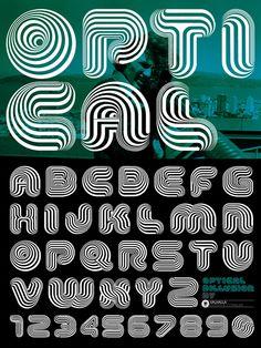 Optical Dillusion Font by Scott Hultgren, via Behance