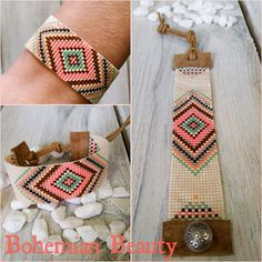 Bead Loom Bracelets, Beaded Bracelet Patterns, Woven Bracelets, Jewelry Patterns, Bead Loom Designs, Bead Loom Patterns, Beading Patterns Free, Bead Jewellery, Beaded Jewelry
