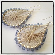 Sterling silver woven chain earrings and blue mystic quartz