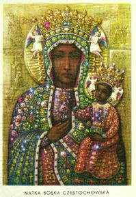 Polish Black Madonna result of a tragic church fire...church destroyed Madonna just blackened.