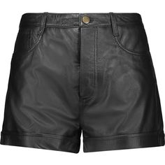 REDValentino Leather shorts ($280) ❤ liked on Polyvore featuring shorts, black, loose fitting shorts, loose shorts, stretchy shorts, loose fit shorts and leather shorts