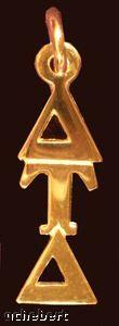 gold diagonal letters greek lavalier