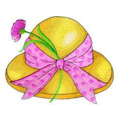 Spring Hat Embroidery Design | AnnTheGran Hat Embroidery, Machine Embroidery, Embroidery Designs, Spring Hats, Summer Hats, Rag Quilt Patterns, Chip Bags, Cute Hats, Door Hangers