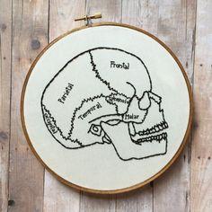 Cráneo humano Anatomía dibujo mano bordado aro arte. 7