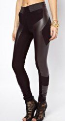 Stylish PU Leather Splicing Stretchy Leggings For Women