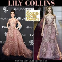 Lily Collins in pink lace gown