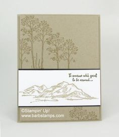 Here is a super simple card that would be perfect for anyone.  It uses the new In the Meadow stamp set from the Occasions Catalog.  Here are the measurements for you, use your Stampin' Trimmer for bes