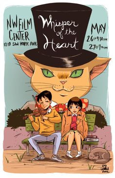 "Poster for ""Whisper of the Heart"", my favorite Studio Ghibli film. Art by Emi Lenox. The Cat Returns, Japanese Animated Movies, Studio Ghibli Movies, Joelle, Film Studio, Howls Moving Castle, My Neighbor Totoro, Hayao Miyazaki, Comic Book Artists"