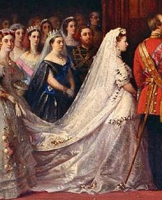 The marriage of Princess Helena Augusta Victoria  (1846-1923), Parents Prince Albert (1819-1861) & Queen Victoria (1819-1901) & Prince Christian I of Schleswig-Holstein of Schleswig-Holstein  (1831–1917) by Christian Karl Magnussen, Parents Christian, Duke of Augustenborg (1798-1869) & his 2nd cousin Countess Lovisa-Sophie Danneskjold-Samsøe (1797–1867).