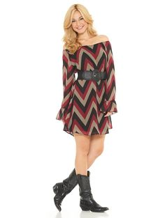 2tee Couture McKenzie Dress - Transition from summer to fall with this great chevron dress