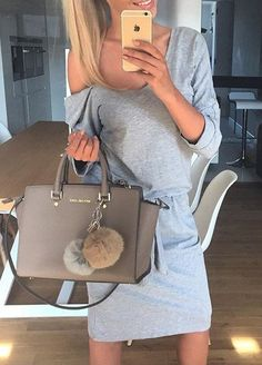 grey casual dress perfect street style outfit