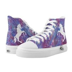 Galaxy pink beautiful unicorn starry sky image High-Top sneakers ($101) ❤ liked on Polyvore featuring shoes, sneakers, galaxy shoes, star sneakers, hi tops, high-top sneakers and pink high top shoes