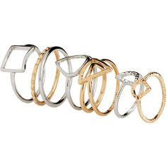 H&M 8-pack rings ($3.04) ❤ liked on Polyvore featuring jewelry, rings, accessories, h&m jewelry, h&m, metal rings, gold and silver jewelry and h&m rings
