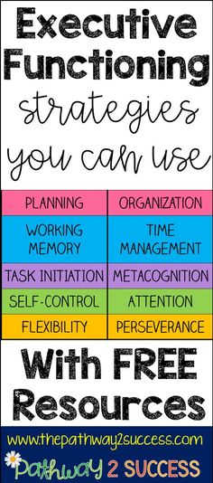 Executive functioning strategies and ideas to use in the classroom with free resources and materials