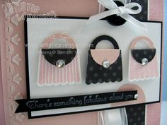 ♥ the use of the Stampin' Up! Cupcake Punch (upside down) to make these cute pink purses!