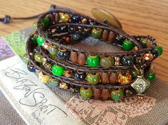 Beaded leather wrap bracelet for inch wrist by BlazonSpirit Leather Cord, Brown Leather, Gold Beads, Diamond Shapes, Bracelet Making, Antique Gold, Hand Carved, Spirit, Fancy