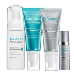 Exuviance Age Reverse Introductory Collection Look undeniably younger with a regimen proven to target all the signs of aging skin with state of the art technologies in multi-tasking formulations. A $103 value for only $74! •Diminishes the appearance of age spots, fine lines, and wrinkles •Rebuilds collagen to help restore firmness and elasticity •Fights damage and prevents future collagen and elastin breakdown