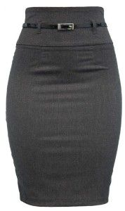 High Waist Belted Gray Pencil Skirt