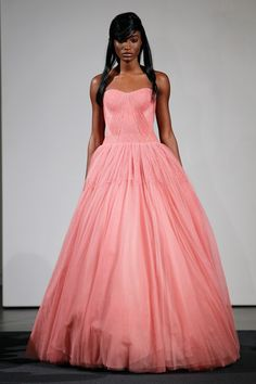 Add a little pink - wedding dress by Vera Wang Fall 2014 bridal collection Wedding Gown Ballgown, Pink Wedding Gowns, Wedding Dresses 2014, Pink Gowns, Bridal Gowns, Dress Wedding, Vera Wang Bridal, Vera Wang Wedding, Vera Wang Dress