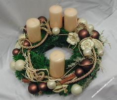 adventní věnec - Hledat Googlem Christmas Wreaths, Christmas Decorations, Advent Wreaths, Advent Candles, Napkin Rings, Centerpieces, Autumn, Products, Crowns