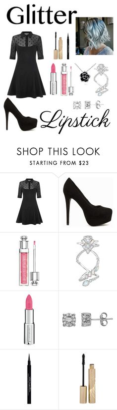 """""""Glitter lipstick"""" by bobthechob ❤ liked on Polyvore featuring beauty, Collectif, Nly Shoes, Christian Dior, Swarovski, Givenchy, Stila, contest, LIPSTICK and glitter"""