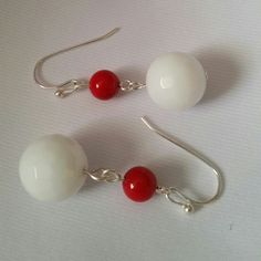 New handmade silver earrings. Beautiful white agate and red coral beads earrings.  Jewelry Earrings