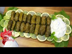 Dolmadakia (Stuffed vine leaves with rice and herbs) by Grandpa Tassos Vine Leaves, Greek Recipes, Side Dishes, Appetizers, Rice, Herbs, Snacks, Cooking, Ethnic Recipes