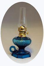 SCARCE Antique Blue Uranium Glass PICKETT Mini Oil/Finger Lamp, S1=46