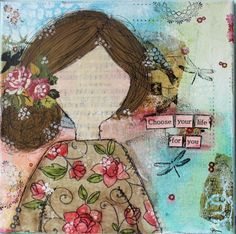 Mixed Media 12x12 Canvas Girl titled Choose your by CanvassHouse