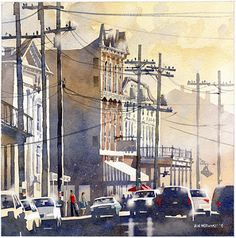 "Evening on Magazine No.2 by Iain Stewart Watercolor ~ 14"" x 14"""