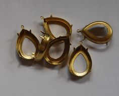 Raw Brass Teardrop Prong Settings with Loop by yummytreasures, $2.99