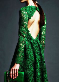 Backless Beautiful Emerald Lace Valentino