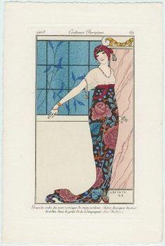 """""""Grande robe du soir, corsage de mousseline chair, tunique de soie brodée dans le goût de la 'Compagnie des Inden'"""", Journal des Dames et des Modes, 1913; MFA 63.2543"""