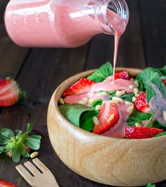 Want to try this dressing! Colorful and healthy, this Simple Spinach and Strawberry Salad recipe makes a great lunch and can be easily customized for dinner by adding grilled chicken and feta. The strawberry dressing is the best in the world! Strawberry Dress, Strawberry Mousse, Tapas, Dip, Strawberry Recipes, Strawberry Salads, Strawberry Vinaigrette, Strawberry Spinach, How To Make Salad