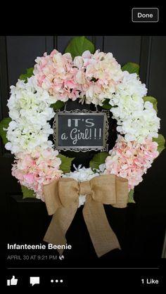 Hydrangea BURLAP WREATH - Pink and White Handmade Gift door hanger wreaths front…