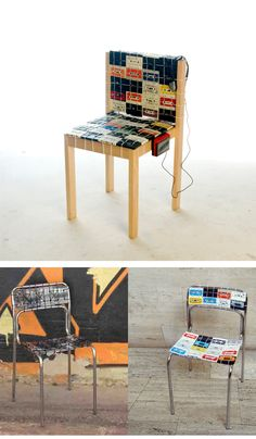 Elvis Presley, Madonna, ABBA, New Wave… Remembering all those artists that we grew up with… With a walkman attached to its side, Nostalgic Chair pays a tribute to now obsolete medium of cassette tape, which was the first to introduce mobility to music reproduction as well as the first recording medium that permitted us to create our own personalizad mix tapes. Long live the Tape!