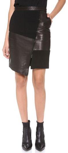 tibi patchwork Leather Skirt $595. js
