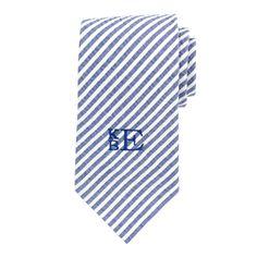 Monogrammed Navy Seersucker Neck Tie