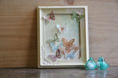 Butterflies Flutterby -  Framed Paper Art with Salvaged Frame