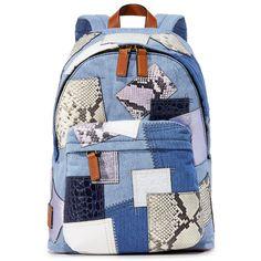 Marc Jacobs Denim Patchwork Biker Backpack ($555) ❤ liked on Polyvore featuring bags, backpacks, denim multi, blue denim backpack, bike bag, marc jacobs, denim backpack and bike backpack