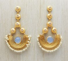 Designer Handcrafted Bridal Wedding Dangle Earring With 22k Yellow Gold Plated Jewelry