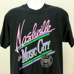 Vintage 90s Nashville Music City T-Shirt,Original Country Music Shirt Bright Neon Colors XL by JeepsterVintage on Etsy