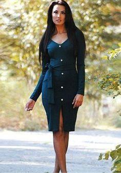 Black Plain Belt Buttons Collarless V-neck Long Sleeve Midi Dress