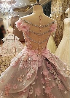 Luxurious Tulle & Lace Sheer Jewel Neckline Ball Gown Wedding Dress With Lace Appliques & 3D Flowers & Beading